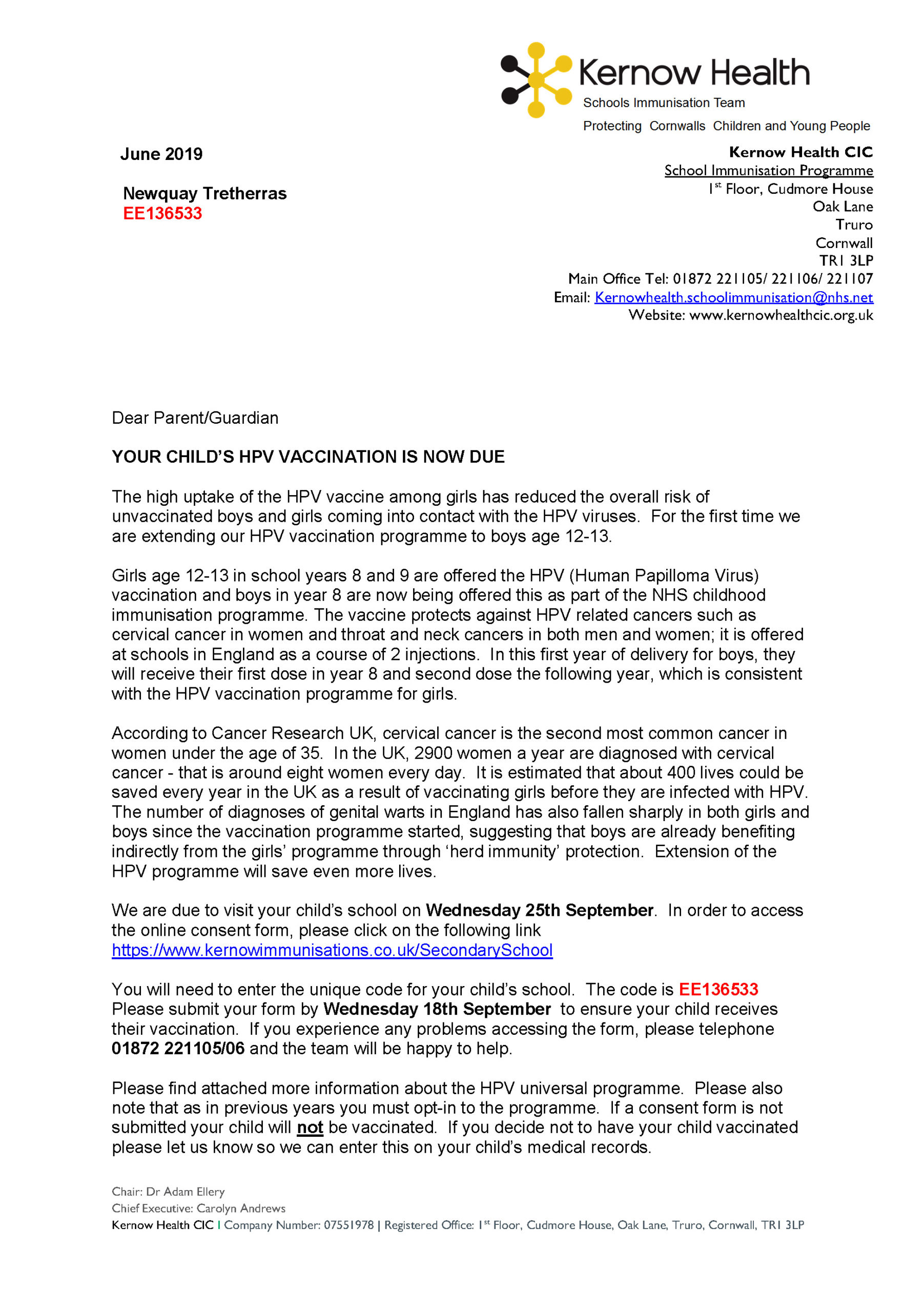 nhs hpv vaccination consent form