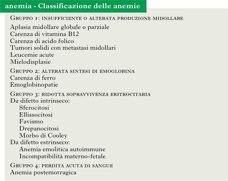 classificazione anemie 4 gruppi