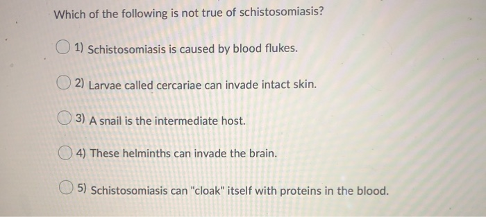 schistosomiasis questions and answers