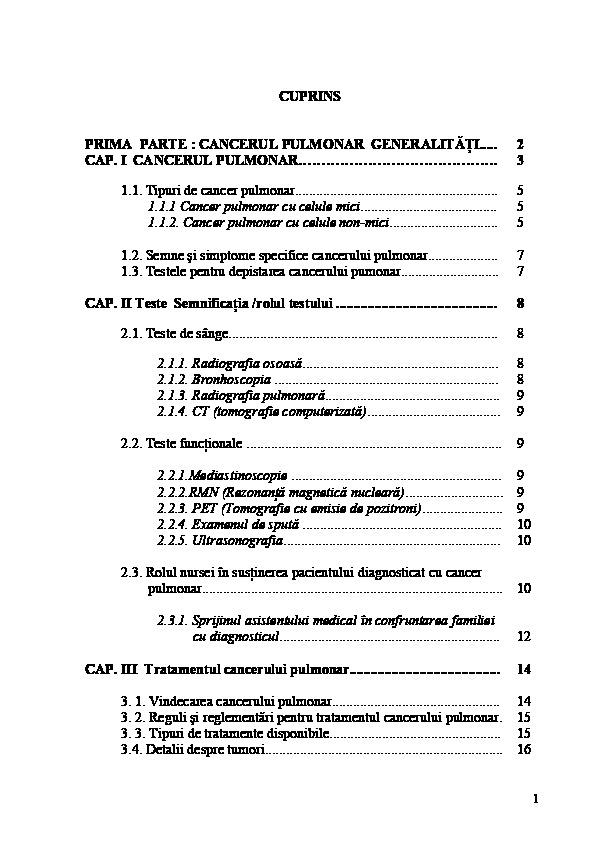 cancer simptome generale