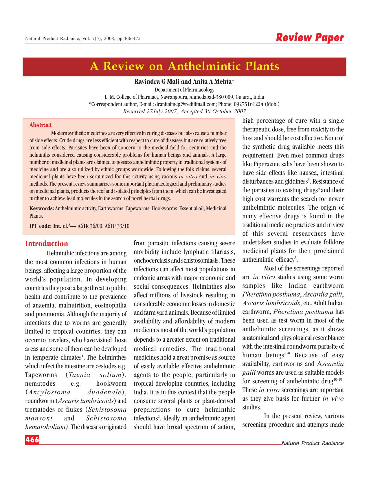 anthelmintic activity definition