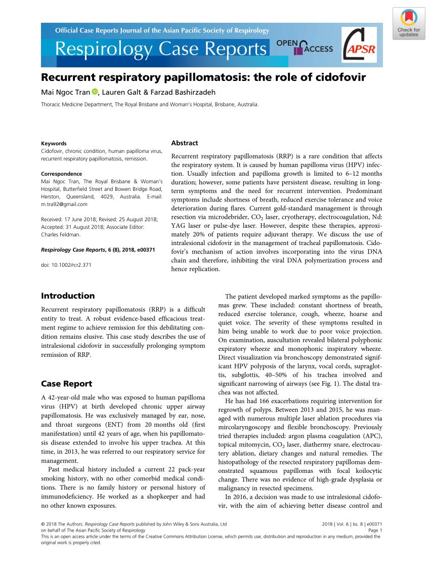 recurrent respiratory papillomatosis support group