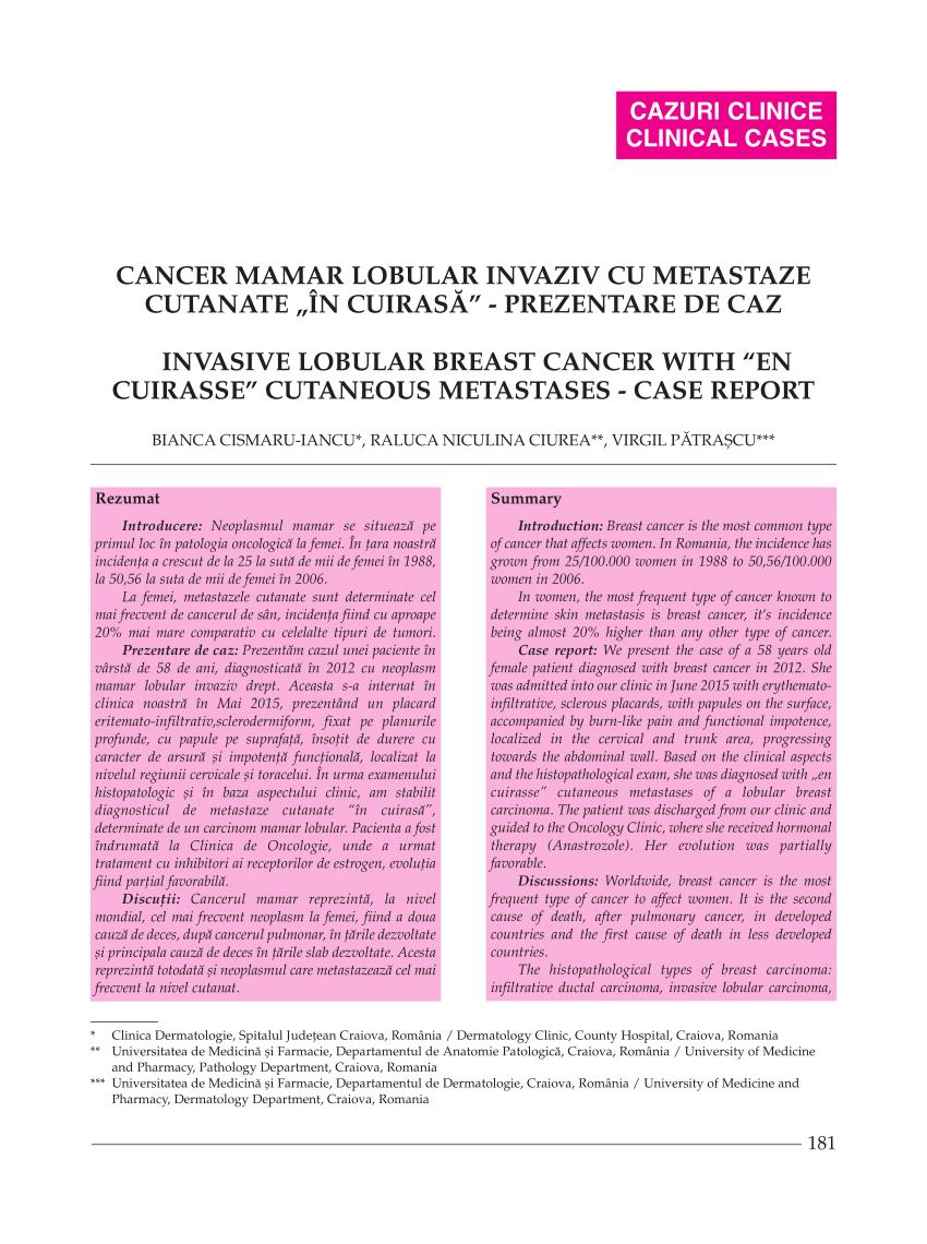cancer san cu metastaze