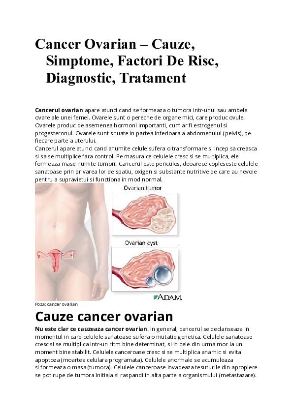 cancer ovarian cauze simptome