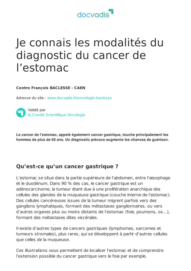 cancer gastrique sarcome