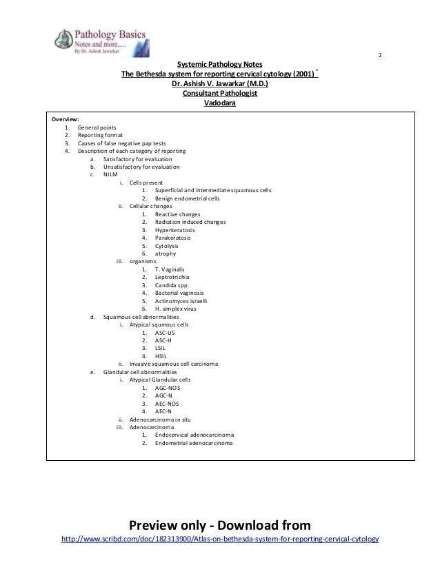 cervical cancer bethesda classification