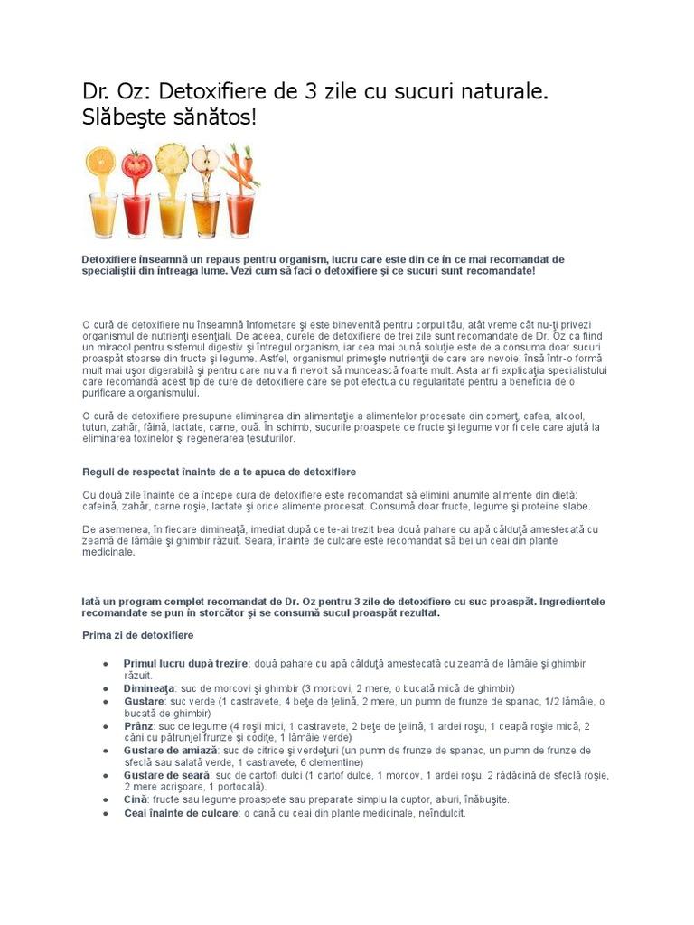 program de detoxifiere cu sucuri naturale