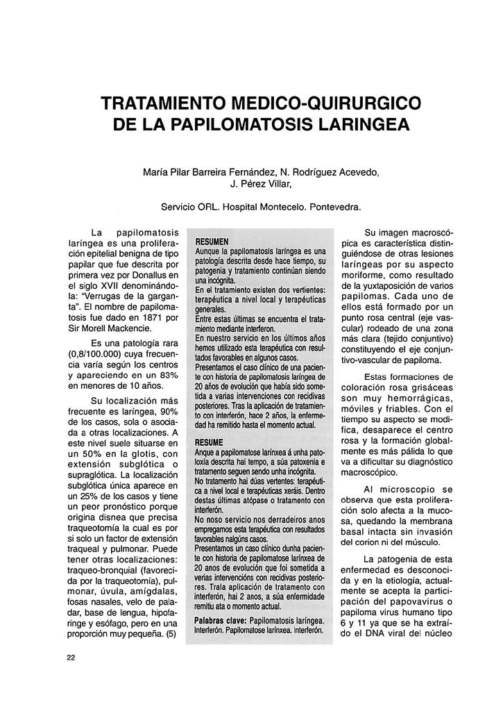 tratamiento de papilomatosis laringea